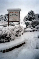 Heavy snow outside Gowan Brae Guest House